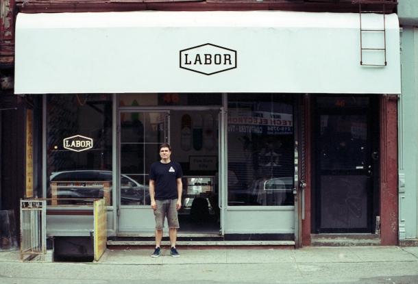 James Rewolinkski outside Labor Skate Shop, Photo: Ryam Leathem.