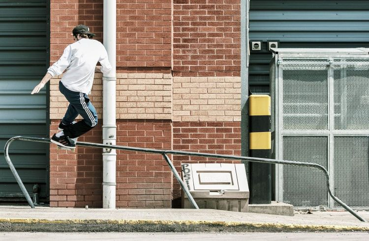 Benny Fairfax and Chewy Cannon Sidewalk Mag Interview, adidas Skateboarding 'Away Days', Chewy - Frontside Boardslide, photo - Andrew Horsley