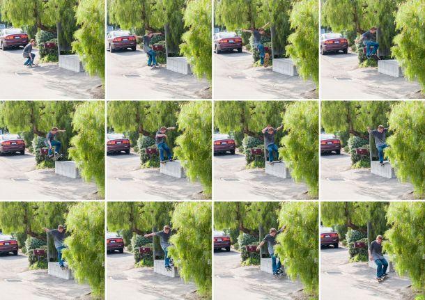 Dennis Busenitz, Frontside Lipslide, Sidewalk Magazine 'Away Days' Interview, Photo - Real Skateboards.