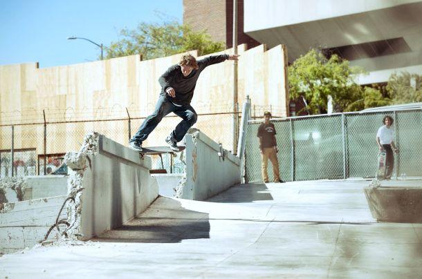 Dennis Busenitz, Switch Crooked Grind, Sidewalk Magazine 'Away Days' Interview, Photo - Real Skateboards.