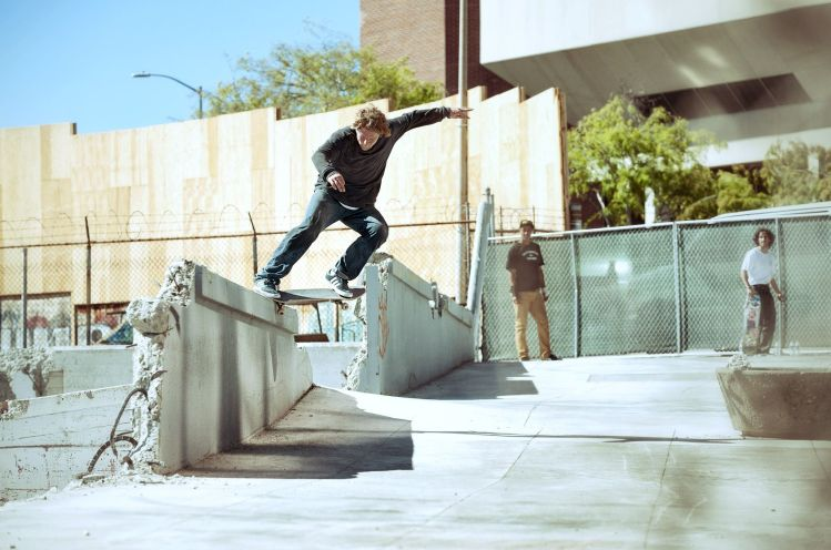 Dennis Busenitz, Switch Crooked Grind, Sidewalk Magazine 'Away Days' Interview, Photo - Real Skateboards.