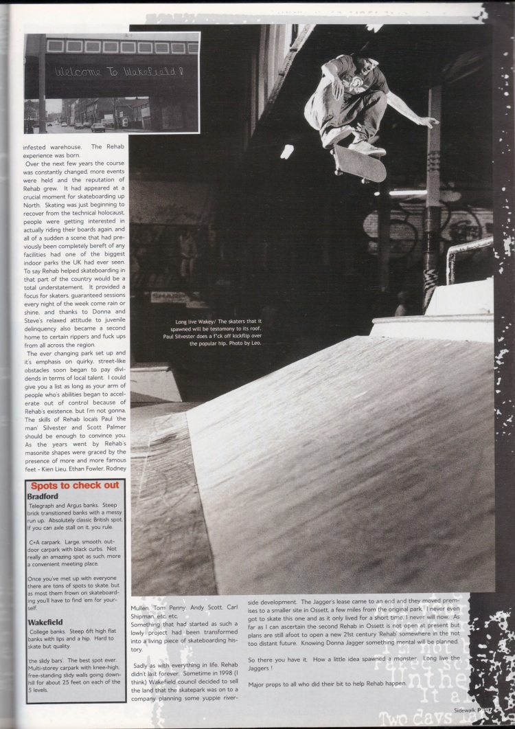 Paul Silvester kickflip rehab skatepark Wakefield Sidewalk Magazine