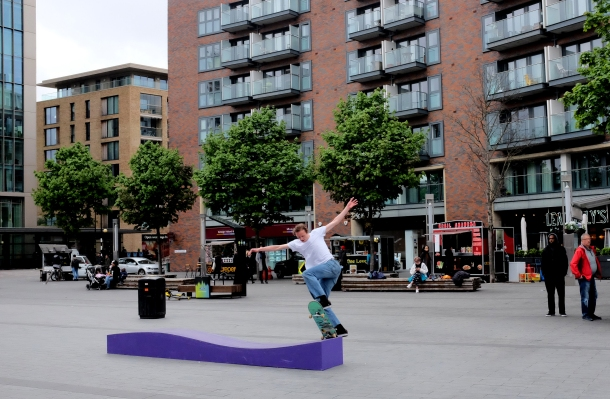 Chris Mann Frontside Bluntslide Canada Water Converse Cons Purple Session London photo Farran Golding