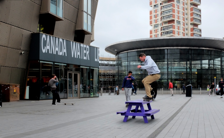 George Smith Frontside Nosegrind Canada Water Converse Cons Purple Session London Sidewalk Magazine photo Farran Golding