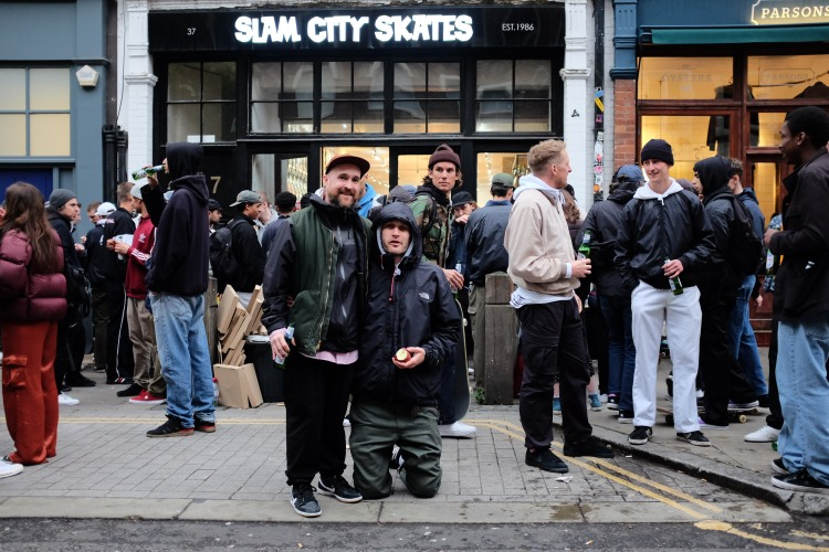 Jake Sawyer Rob Mathieson Slam City Skates London Converse Cons Purple Premiere Sidewalk Magazine Recap photo Farran Golding