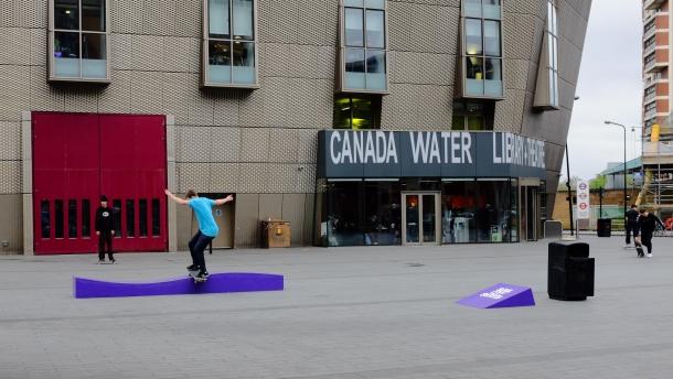 Josh Cox Frontside Lipslide Canada Water Converse Cons Purple Session London photo Farran Golding