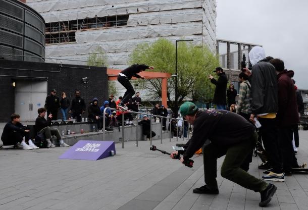 Sean Pablo Backside 5050 Canada Water Converse Cons Purple Session London Sidewalk Magazine Recap photo Farran Golding