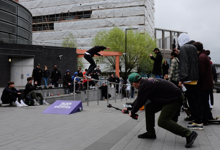 Sean Pablo Backside 5050 Canada Water Converse Cons Purple Session London Sidewalk Magazine Recap photo Farran Golding