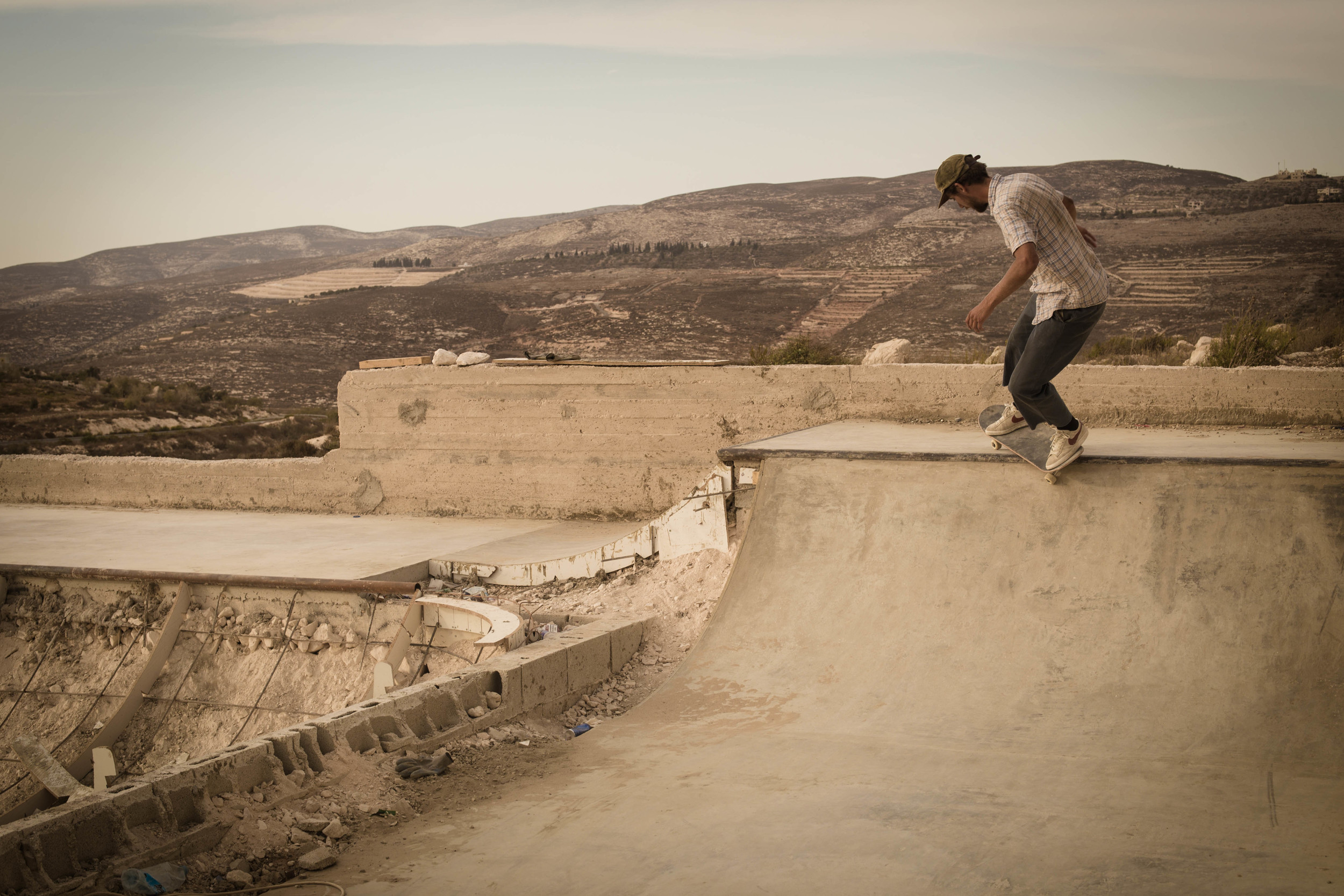Chris Jones, feeble to fakie, Asira Al-Shamaliya, West Bank of Palestine, 2015. photo Emil Agerskov